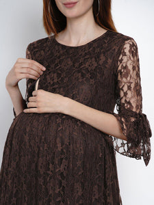 Mine4Nine Women's Fit & Flare Lace Maternity Dress