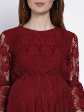 Load image into Gallery viewer, Mine4Nine - Dress - Mine4Nine Women's Fit & Flare Lace Maternity Dress