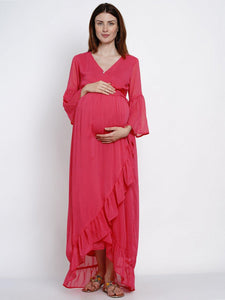 Mine4Nine Women's Wrap Chiffon Maternity Dress
