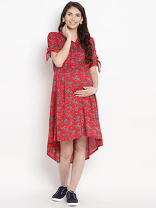 Crimson Asymmetric Maternity Dress w/ Floral Pattern, Made of Rayon- Mine4Nine