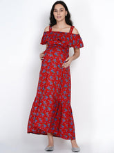 Load image into Gallery viewer, Mine4Nine - Dress - Mine4Nine Women's A-line Red Rayon Maternity Dress