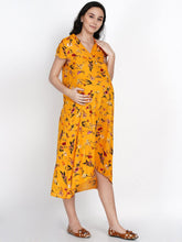 Load image into Gallery viewer, Mine4Nine Women's High-Low Yellow Rayon Maternity Dress