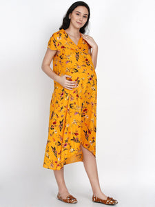 Mine4Nine Women's High-Low Yellow Rayon Maternity Dress