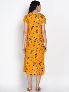 Mine4Nine - Dress - Mine4Nine Women's High-Low Yellow Rayon Maternity Dress