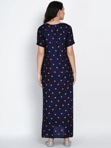Mine4Nine Women's Navy Blue A-line Rayon Maternity Dress