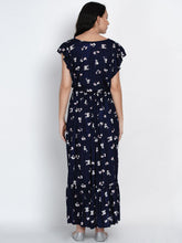 Load image into Gallery viewer, Mine4Nine Women's Navy Blue A-line Rayon Maternity Dress