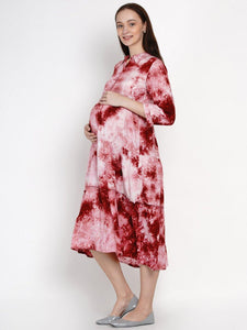 Mine4Nine - Dress - Mine4Nine Women's Pink A-Line Rayon Maternity Dress