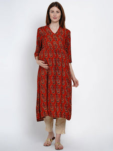 Mine4Nine Women's Red A-Line Rayon Maternity Kurta