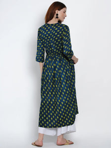Mine4Nine Women's Green A-Line Rayon Maternity Kurta