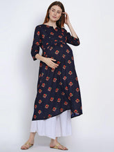 Load image into Gallery viewer, Mine4Nine Women's Navy A-Line Rayon Maternity Kurta