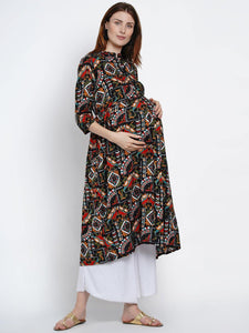 Mine4Nine Women's Black A-Line Rayon Maternity Kurta