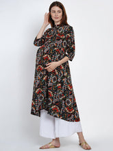 Load image into Gallery viewer, Mine4Nine Women's Black A-Line Rayon Maternity Kurta