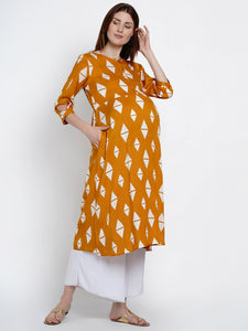 Mine4Nine Women's Yellow A-Line Rayon Maternity Kurta