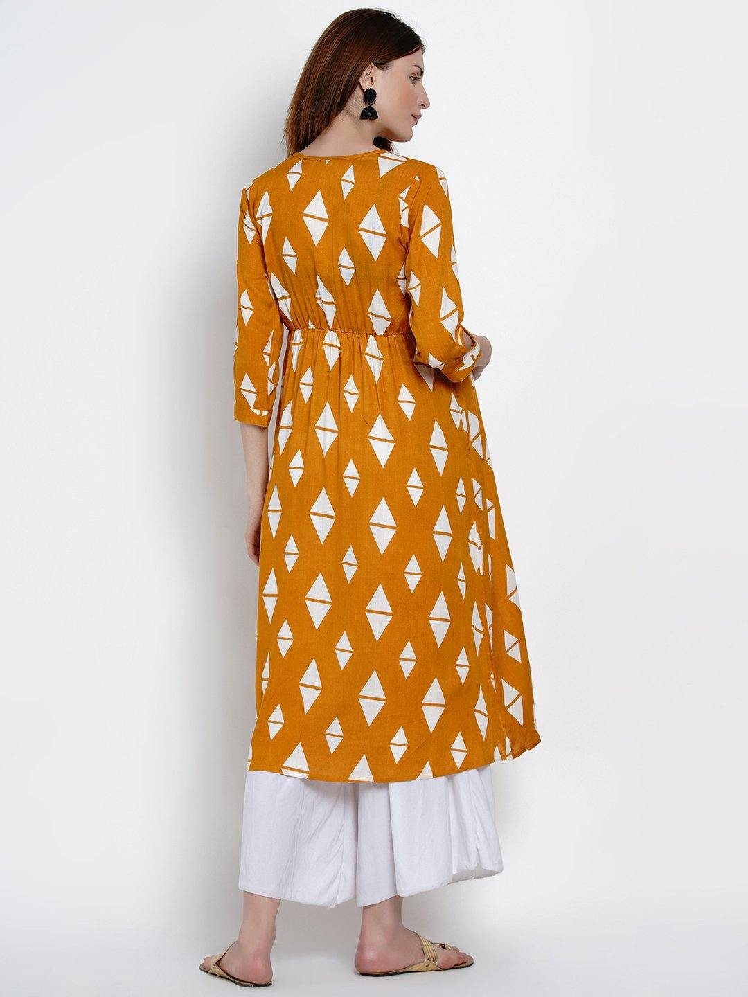 Mine4Nine - Kurta - Mine4Nine Women's Yellow A-Line Rayon Maternity Kurta