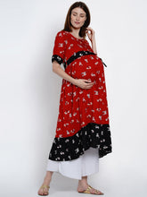 Load image into Gallery viewer, Mine4Nine Women's Red Fit & Flare Rayon Maternity Kurta