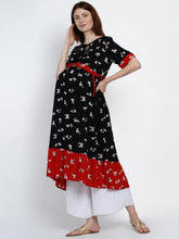 Load image into Gallery viewer, Mine4Nine Women's Black Fit & Flare Rayon Maternity Kurta