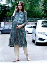 Load image into Gallery viewer, Mine4Nine Women's Green A-Line Rayon Maternity Kurta