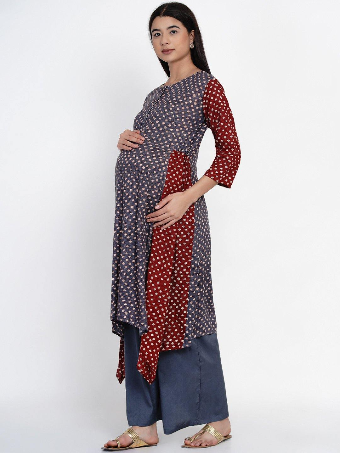 Mine4Nine - Kurta - Mine4Nine Women's Grey Asymmetric Rayon Maternity Kurta