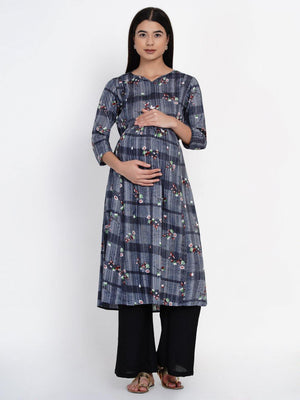 Mine4Nine - Kurta Set - Mine4Nine Women's Grey A-Line Rayon Maternity Kurta with Palazzo Set