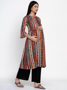 Mine4Nine - Kurta Set - Mine4Nine Women's Black A-Line Rayon Maternity Kurta with Palazzo Set