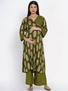 Mine4Nine - Kurta Set - Mine4Nine Women's Olive Green Wrap Rayon Maternity Kurta with Palazzo Set