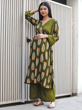 Load image into Gallery viewer, Mine4Nine - Kurta Set - Mine4Nine Women's Olive Green Wrap Rayon Maternity Kurta with Palazzo Set