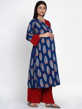 Load image into Gallery viewer, Mine4Nine - Kurta Set - Mine4Nine Women's Blue Wrap Rayon Maternity Kurta with Palazzo Set