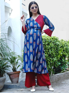 Mine4Nine - Kurta Set - Mine4Nine Women's Blue Wrap Rayon Maternity Kurta with Palazzo Set