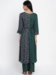Mine4Nine - Kurta Set - Mine4Nine Women's Green Fit & Flare Rayon Maternity Kurta with Palazzo Set
