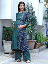 Load image into Gallery viewer, Mine4Nine - Kurta Set - Mine4Nine Women's Green Fit & Flare Rayon Maternity Kurta with Palazzo Set
