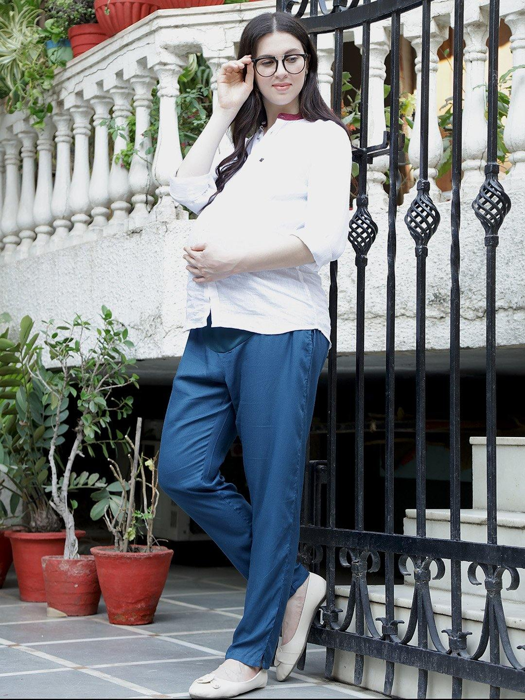 Teal Straight Full Length Maternity Trousers Made of Rayon