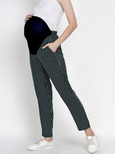 Mine4Nine Women's Green Straight Rayon Maternity Trousers