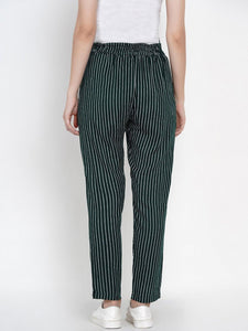 Mine4Nine - Trousers - Mine4Nine Women's Green Straight Rayon Maternity Trousers