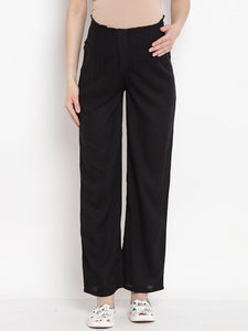 Black Maternity Trousers Made of Lycra & Rayon- Mine4Nine