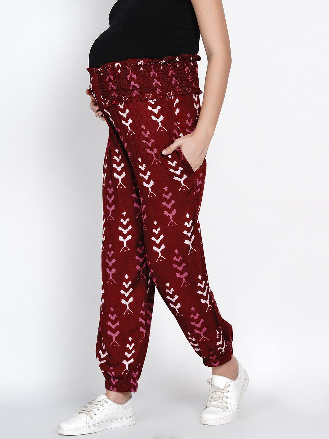 Mine4Nine - Trousers - Mine4Nine Women's Maroon Rayon Maternity Trousers