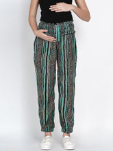 Load image into Gallery viewer, Mine4Nine Women's Green Rayon Maternity Trousers