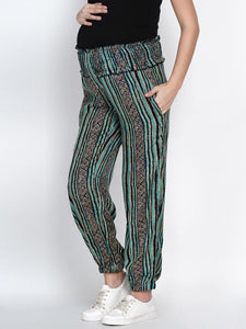 Mine4Nine Women's Green Rayon Maternity Trousers