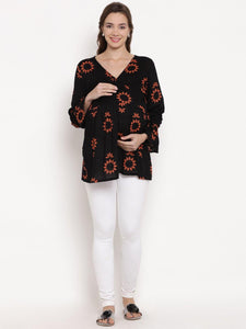 Black Drop Waist Maternity Top w/ Floral Pattern Made of Rayon- Mine4Nine