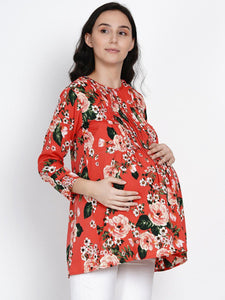 Mine4Nine Women's Red A-Line Crepe Maternity Top