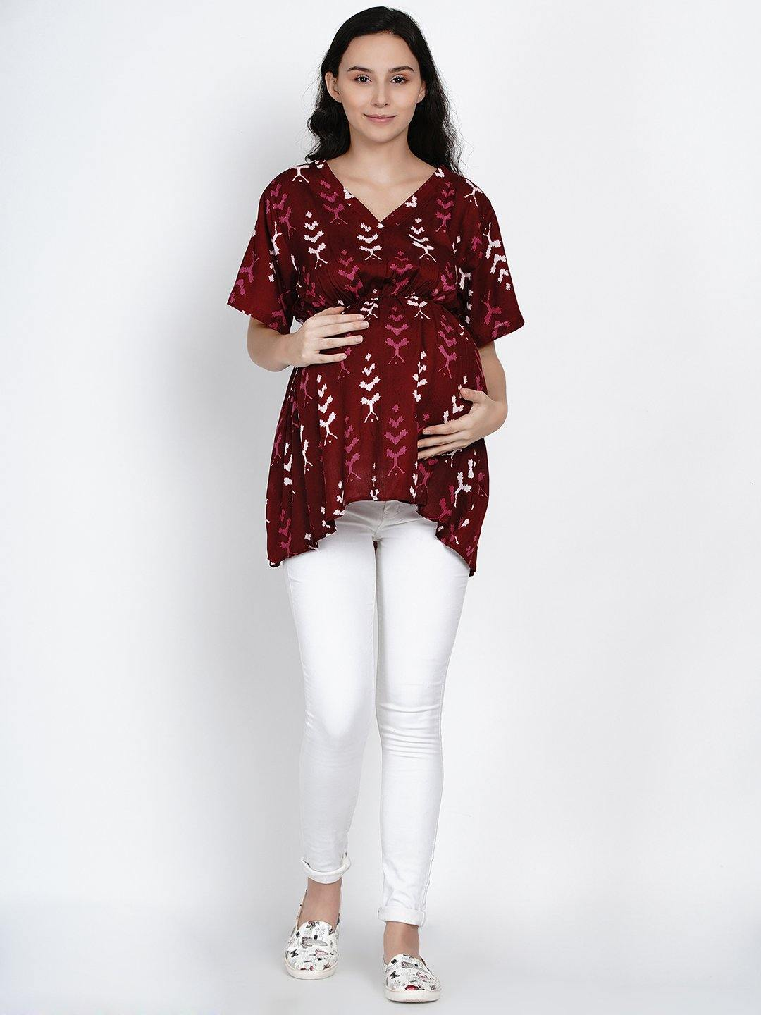 Mine4Nine - Top - Mine4Nine Women's Maroon A-Line Rayon Maternity Top
