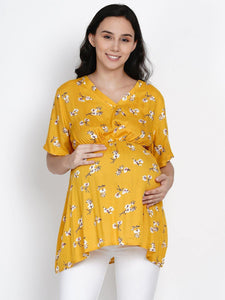 Mine4Nine Women's Yellow A-Line Rayon Maternity Top