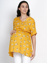 Load image into Gallery viewer, Mine4Nine Women's Yellow A-Line Rayon Maternity Top
