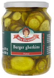 Mrs Elswood Burger Gherkins Pickled  670 g