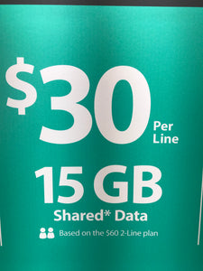Multi-line Shared Data Plan $30