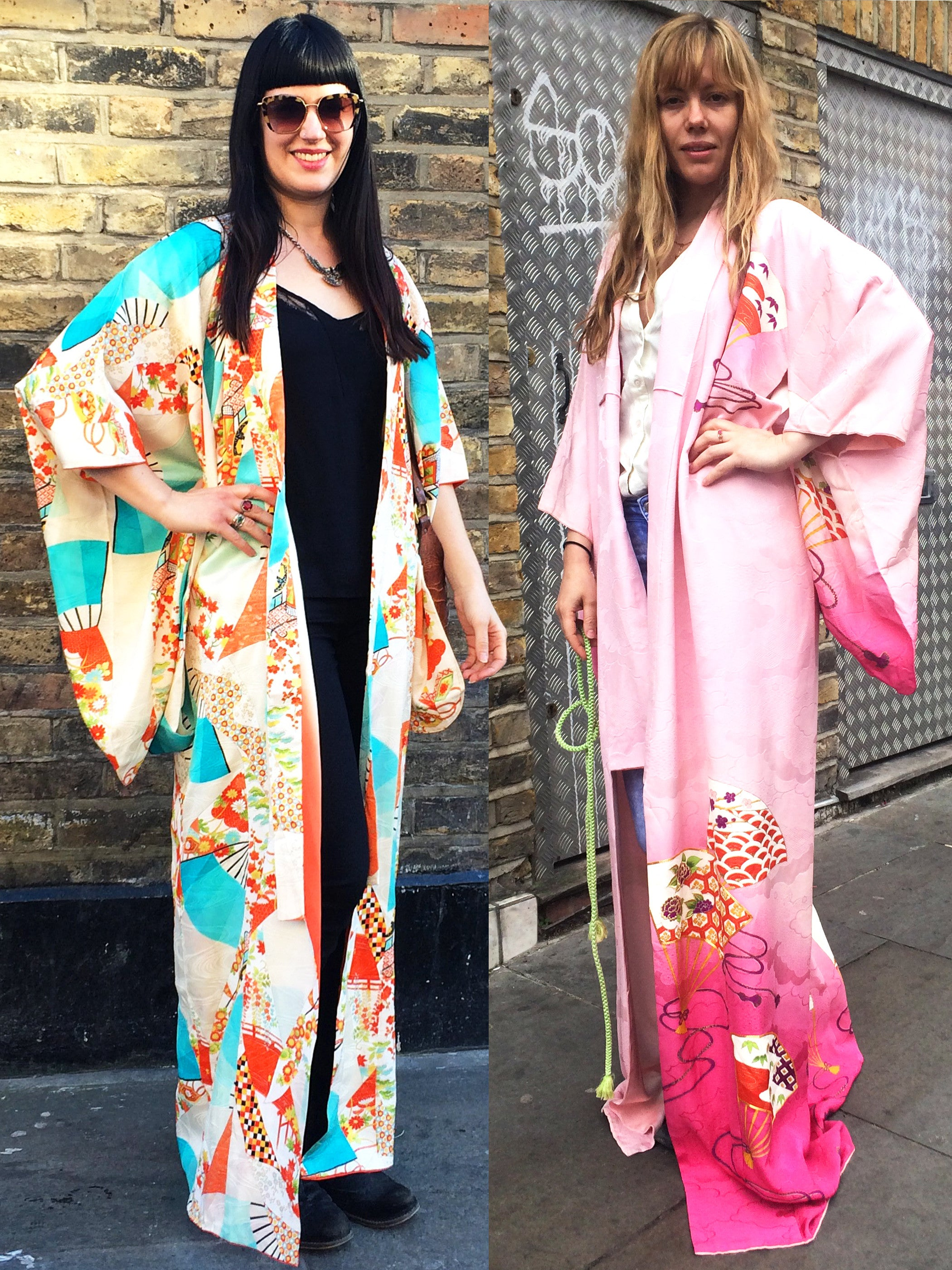 Clare and Tatsiana in their Mero Retro vintage kimonos