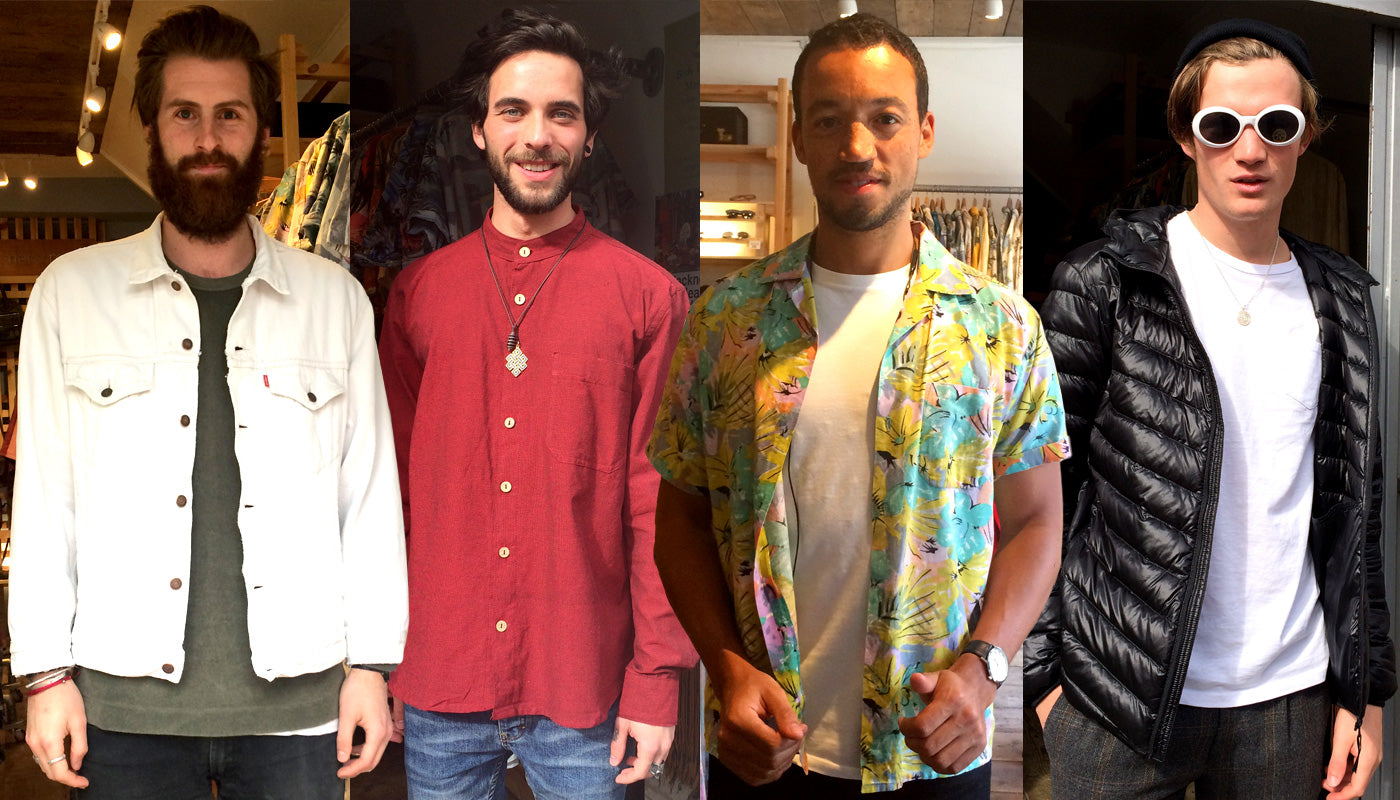 Reece, Mateo, Nate and George posing in their vintage and Fairtrade fashion finds: Levis white denim jacket, Fairtrade Nepali cotton granddad shirt, floral cotton shirt & deadstock vintage sunglasses