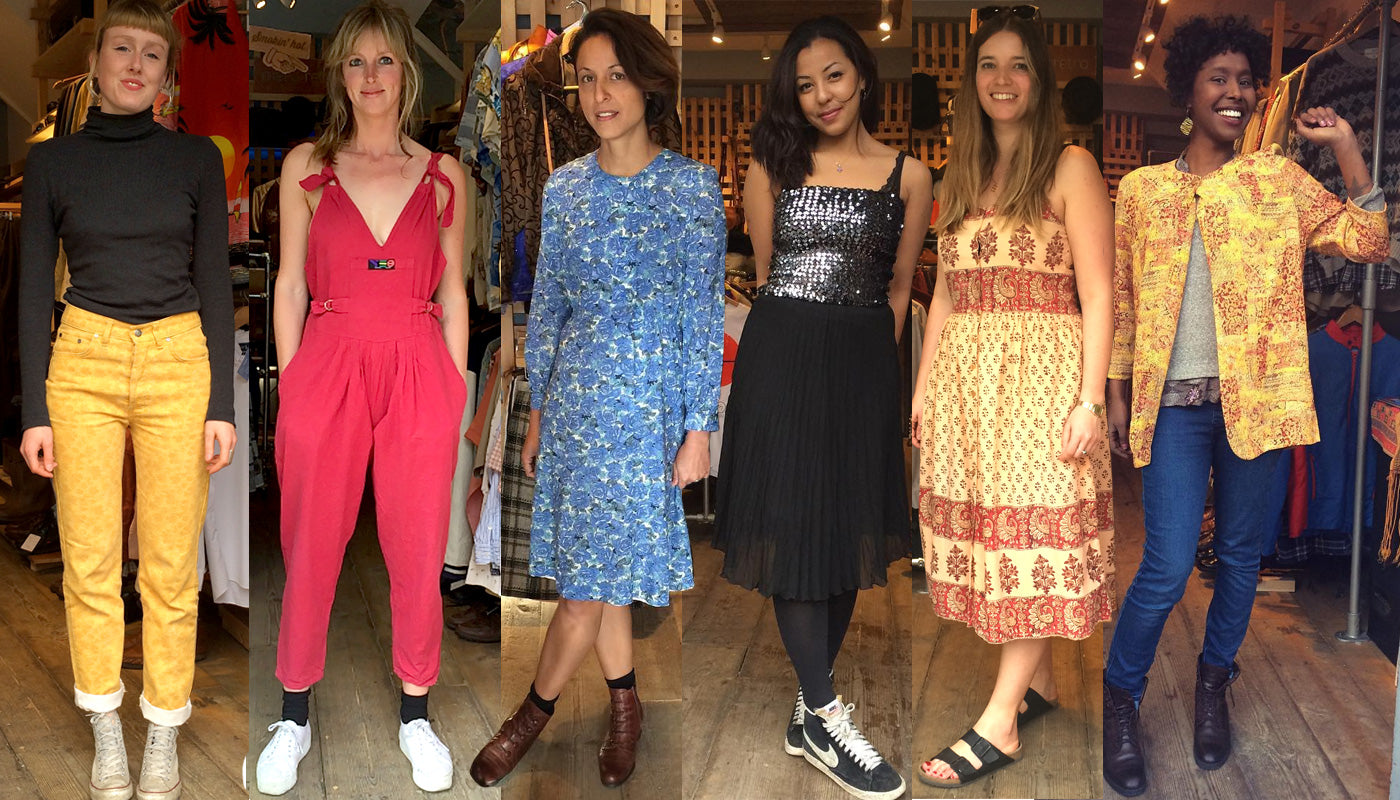 Beautiful Kirsty, Amy, Jane, Eva, Bianca and Hiba dressed in their finest Mero Retro vintage: Versace trousers, 90s dungaress, floral cotton dress, sequinned boob tube & pleated chiffon skirt, boho dress & Japanese vintage top & vintage Italian leather ankle boots