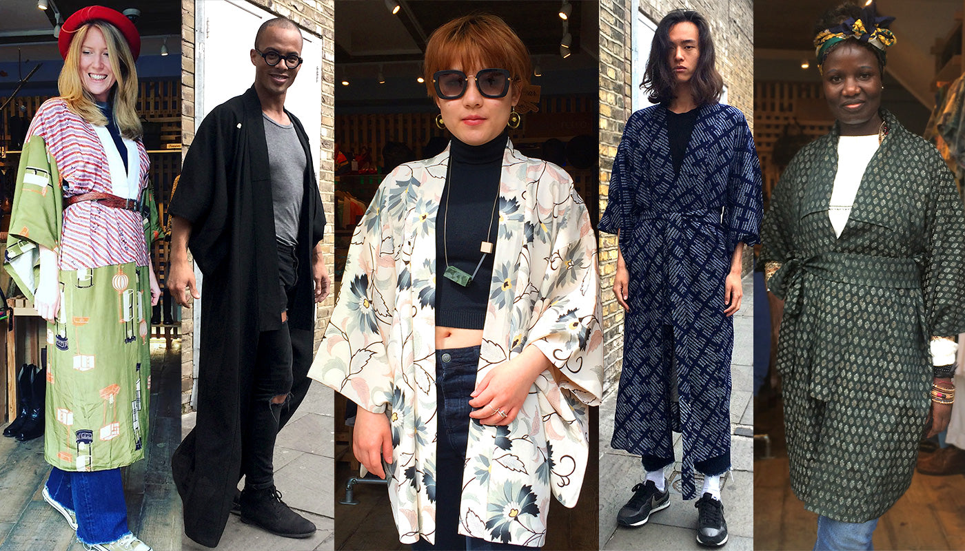 Our lovely customers Hollie, Josh, Rebecca, David & Florence in their beautiful vintage kimonos