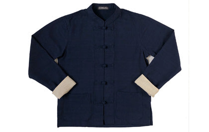 Fairtrade mandarin jacket navy