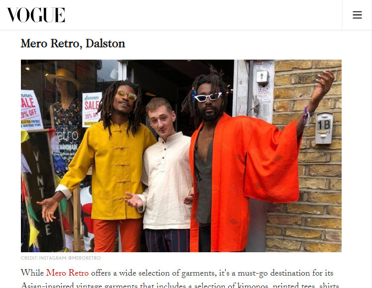 Mero Retro in British Vogue's Guide to the Best Vintage Shops In London